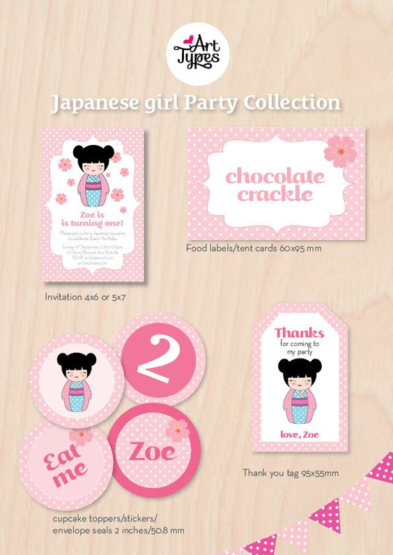 Japanese Girl Birthday Party Invitation And Printables By ArtTypes - Birthday invitation in japanese