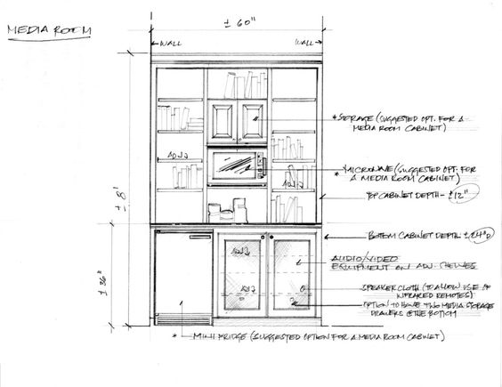shop drawing for custom media room    game room niche