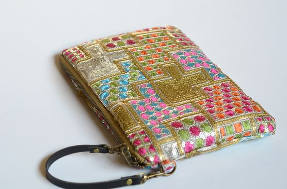 Handbag/purse/wallet - sequinned. With strap attached to zip.