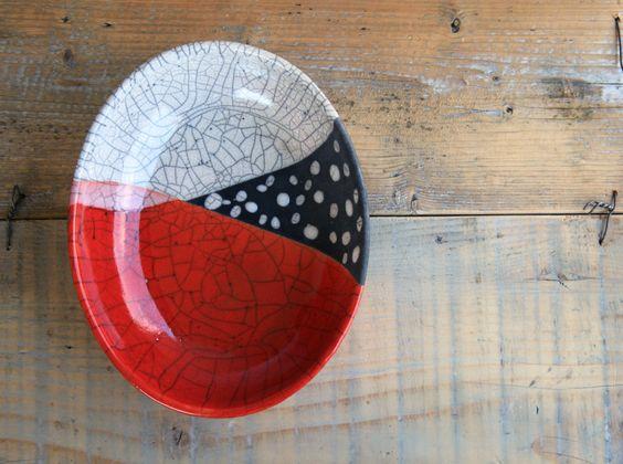 red oval raku plate handmade ceramic modern (48.00 USD) by BottegaKrua