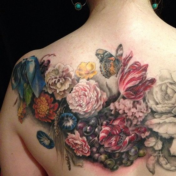 Flowers Back Tattoo
