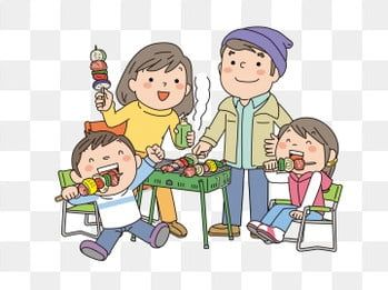Happy Family Outdoor Get Together Hand Painted Cartoon Cartoon Family Party Family Gathering Barbecue Cartoon Ve Family Cartoon Party Cartoon Cartoon Butterfly
