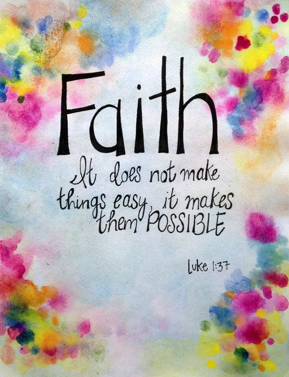 Faith Luke 1:37, Original Watercolor Painting with Hand Written Lettering; Unframed 11x15 Inspirational Art, Multi Color Bible Verse