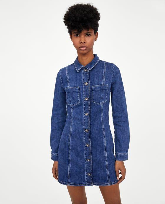 look for genuine shoes authentic Image 1 of AUTHENTIC DENIM DRESS from Zara | Dark denim ...