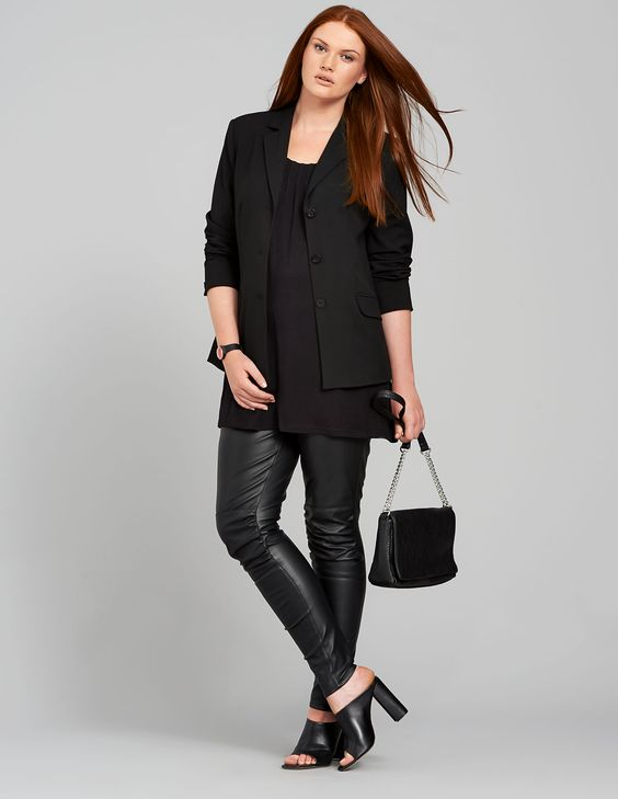 Carmakoma Faux leather trousers in Black