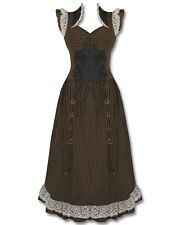 Banned Steampunk Dress Long Black Brown Stripe Copper VTG Victorian Corset