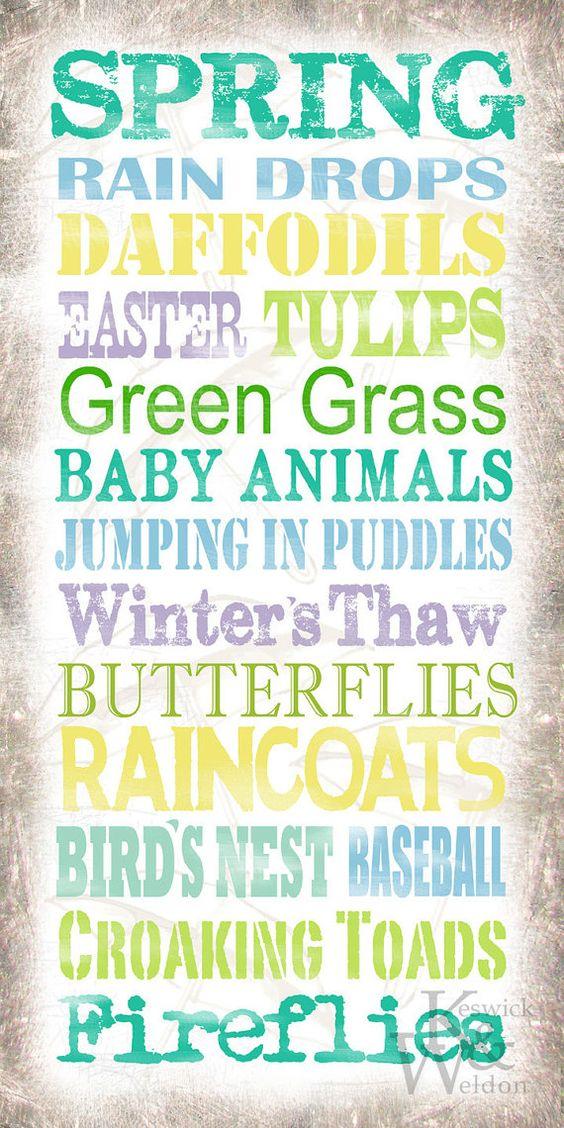 Spring Sayings Typography Print  10x20 by KeswickandWeldon on Etsy, $22.00