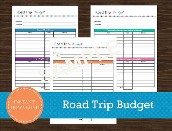 Road Trip Budget Sheet Travel Planner Vacation Planner Road – Travel Map Planner