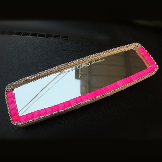 Bling Car Rear View Mirror Cover Hot Pink Rhinestones Clip