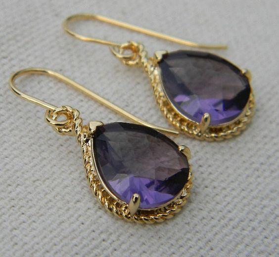 Amethyst Purple and Gold Glass Earrings by Greenperidot on Etsy, $24.50
