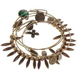 Elegant 5-in-1 Vintage Metal Bracelet Wrist Ornament Jewelry Set with Pendants Decor for Female