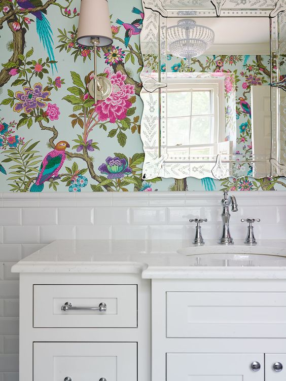 Bold feminine little girls ensuite bathroom featuring this for Floral bathroom wallpaper