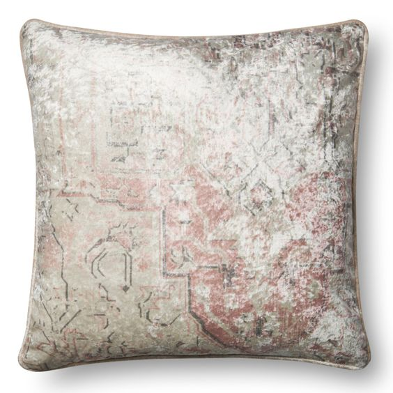 P0596 Faded Pink Pattern Throw Pillow