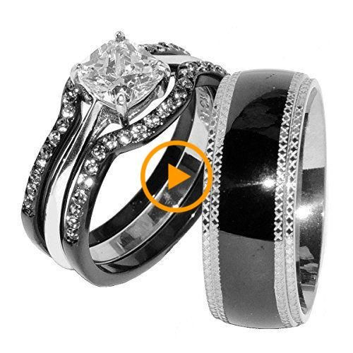 His Hers 4 Pcs Black Ip Stainless Steel Cz Wedding Ring Set Mens Matching Band Size W Steel Wedding Ring Cz Wedding Ring Sets Wedding Rings Sets His And Hers