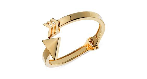 Guess Gold-Tone Arrow Bypass Hinge Bracelet