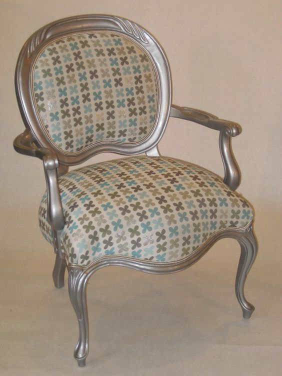 Cool Silver painted Victorian chair with Mod by tuffetlady34, $450.00