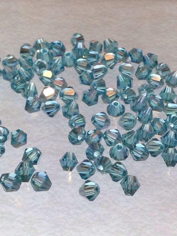 50 Turquiose Swarovski Glass Crystal Beads by TheTurkeyAndTheFrog