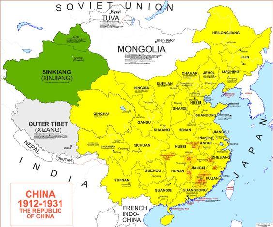 Map of China 1912-1931
