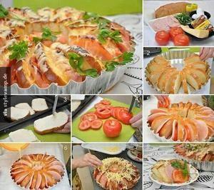 Herzhafter Brotkranz für die nächste Party. Brot in viele dünne Stücke schneiden & kreisförmig in eine Form legen. Zwischen die einzelnen Stücke Mozzarella, Schinken, Tomaten & andere Sachen legen. Zum Schluss mit Käse überbacken & mit ein paar Kräuter sevieren und fertig ist der Brotkranz