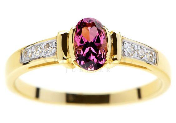 Złoty pierścionek zaręczynowy vintage z rodolitem i prawdziwymi brylantami - GRAWER W PREZENCIE | PIERŚCIONKI ZARĘCZYNOWE \ Brylanty \ Rodolit naturalny od GESELLE Jubiler