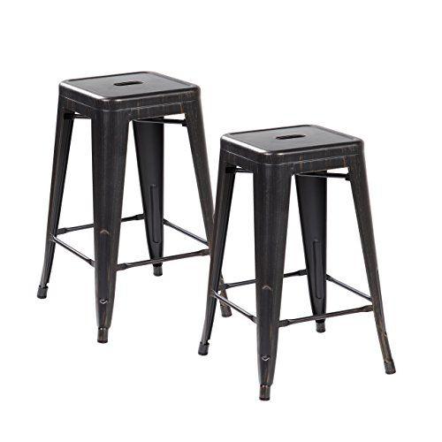 Anji Modern Furniture 26inch Vintage Backless Metal Bar Stools Set