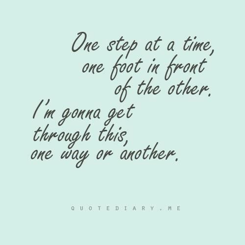 I've gotten through divorce, suicide of a spouse, chronic illness and death of my parents doing just this....one foot in front of the other