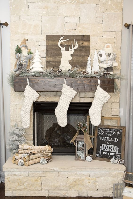 Rustic Neutral Woodland Christmas Mantel and How to decorate it the easy way. Plus free Christmas Tag Printables.