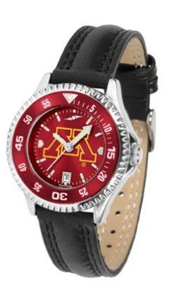 Minnesota Golden Gophers Competitor Ladies AnoChrome Watch with Leather Band and Colored Bezel by SunTime. $85.45. Showcase the hottest design in watches today! A functional rotating bezel is color-coordinated to compliment the NCAA Minnesota Golden Gophers logo. A durable, long-lasting combination nylon/leather strap, together with a date calendar, round out this best-selling timepiece.The AnoChrome dial option increases the visual impact of any watch with a stunning radial ...