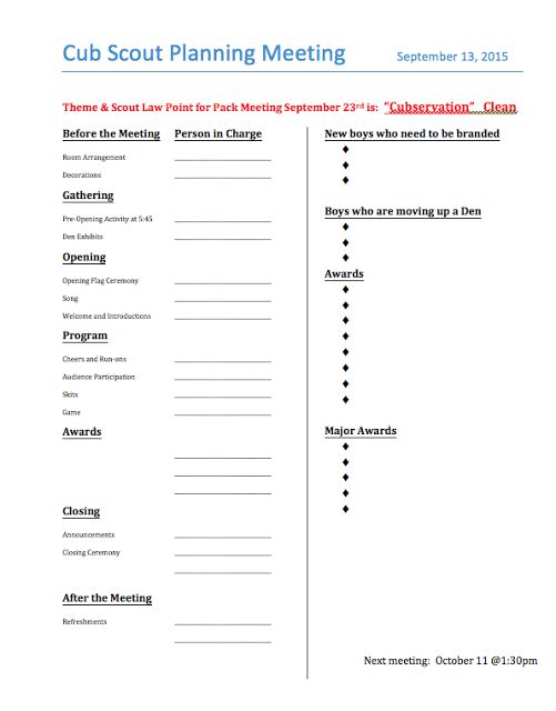 Cub Scout Pack Meeting Planning Agenda ** that you CAN EDIT!! This - sample training agenda