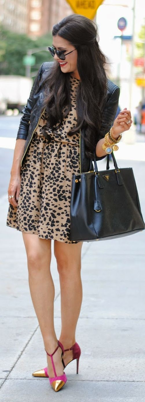 Brown And Black Animal Print Loose Mini Dress
