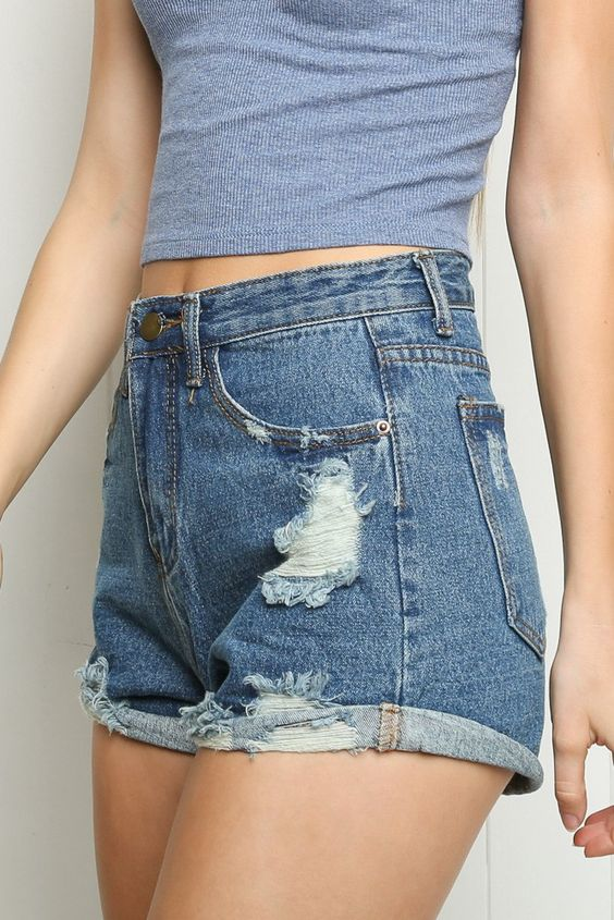 Brandy ♥ Melville | High-Rise Distressed Denim Shorts - Clothing