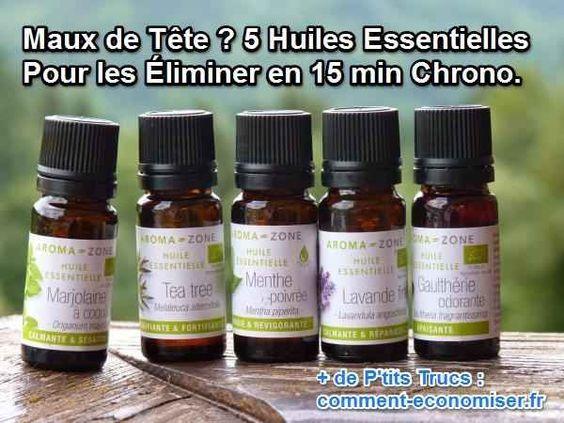 Une utilisation adéquate des huiles essentielles peut soulager votre douleur en seulement 15 min. Suivez notre guide pour trouver le bon remède contre votre mal de tête.  Découvrez l'astuce ici : http://www.comment-economiser.fr/5-huiles-essentielles-pour-stopper-mal-de-tete-en-15-min.html?utm_content=bufferd5f3c&utm_medium=social&utm_source=pinterest.com&utm_campaign=buffer
