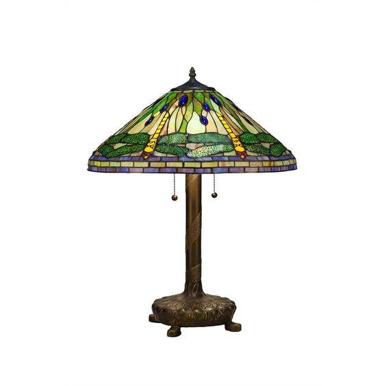 Serena D'italia Tiffany Green Dragonfly 25 in. Bronze Table Lamp-2013/LB0804Z - The Home Depot