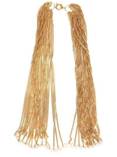 Gold plated silver multi chain necklace from Melanie Georgacopoulos featuring a white pearl trim and ring clasp fastening.