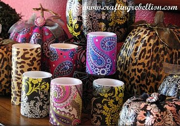 Mod Podge candles with Vera Bradley Napkins Holy Moly I know what some people are getting for Christmas!!!