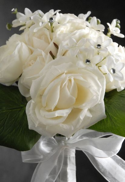 Silk Wedding Bouquets White Roses Stephanotis Crystal Accents