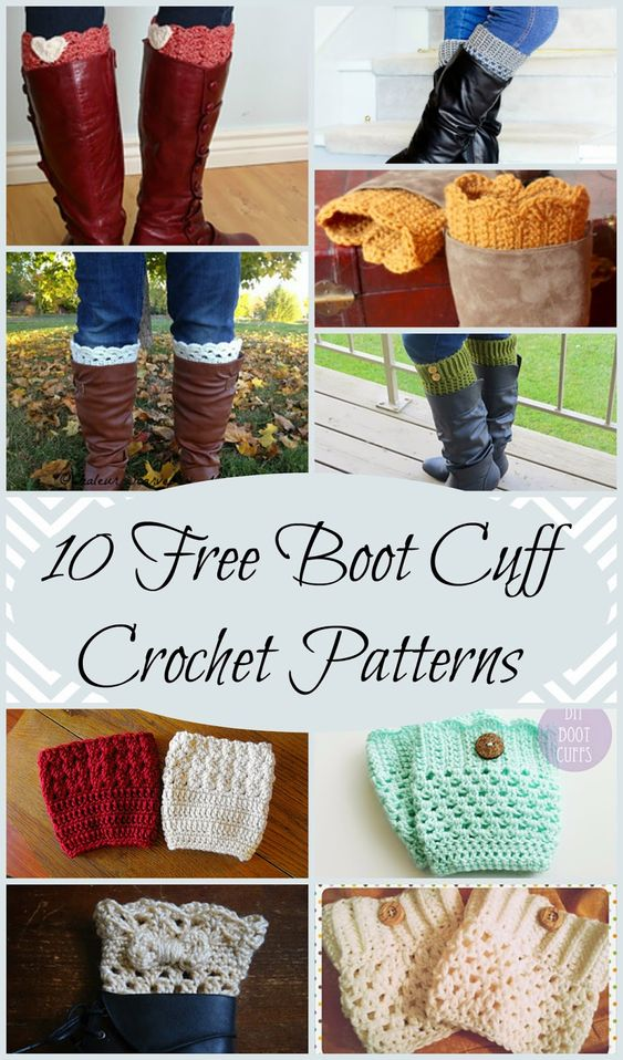 10 Free Boot Cuff Crochet Patterns perfect for a quick and easy Christmas gift!: