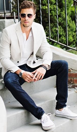 Summer dressy outfit for men. Great way to wear white and light beige
