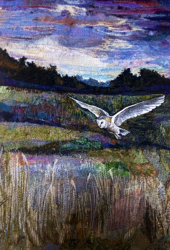 'Hunting Barn owl' embroidered textile by Rachel Wright: