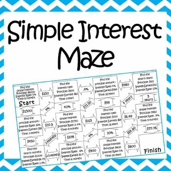Simple Interest Maze ~ Advanced | Variables, Worksheets and Student