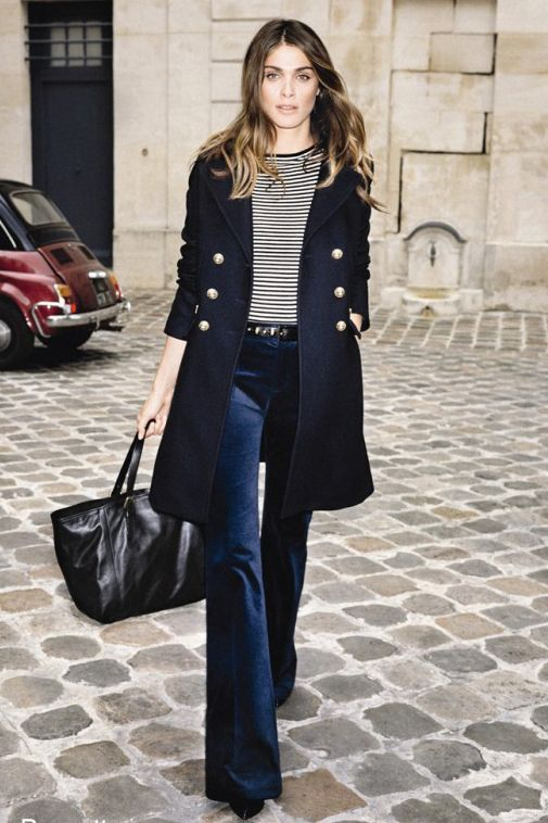 Flare Jeans Outfit Ideas - fall / winter - street chic style - work outfit - office wear - black long coat + black and white striped top + black belt + dark denim flare jeans + black stilettos + black tote