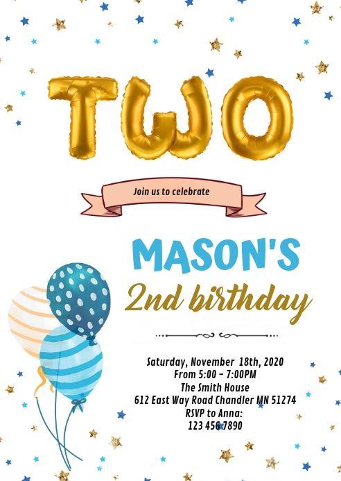 2nd Birthday Card Invitation 2nd Birthday Invitations Boy Birthday Invitations Birthday Invitation Templates