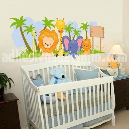 Decoracion habitacion bebe animales selva - Cuarto infantil nino ...