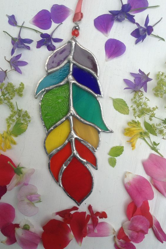 "Stained Glass Rainbow Feather Suncatcher,6"",Glass Art,Native American,Glass Feather,Ceremonial,Spirit,Tribal,OOAK,Birthday Gift,Mixed Colour by WylloWytch on Etsy"
