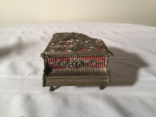 Japan Baby Grand Piano Music Box Red Velvet Lining Working Condition Vintage
