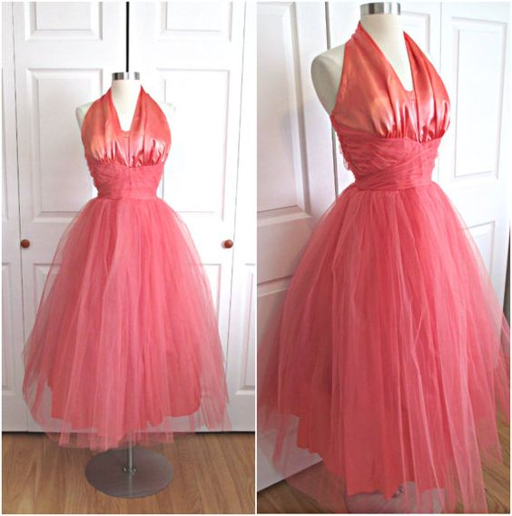 1950's Vintage Pinky Peach Tulle Liquid Satin by RubyFayesVintage, $145.00