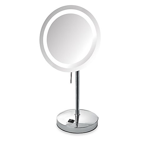 Featuring a sleek and trendy finish, the Jerdon 8X LED Lighted Vanity Mirror adds chic style to your beauty routine. Luxurious and perfect for a tabletop, this mirror also features clear, bright LED lighting.