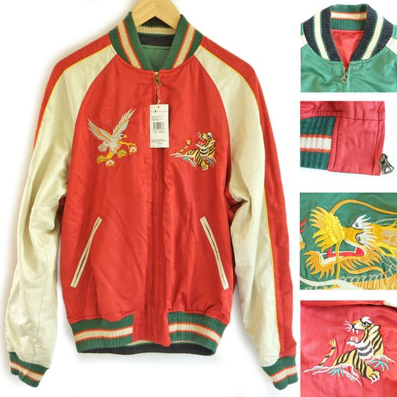 Polo Ralph Lauren Mens Red \u0026amp; Green Reversible Varsity Jacket.