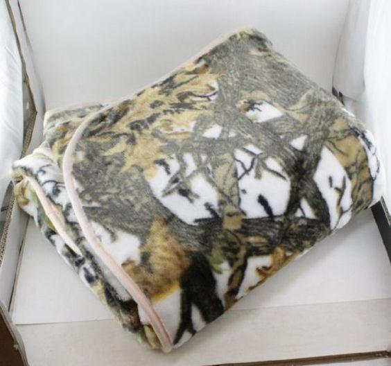 "REGAL Sherpa Luxury 60"" x 80"" Mink Bed Spread Blanket - The Wood's White Camo"