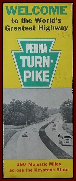 ROAD MAP 1951 (Pennsylvania) Penna Turn Pike System From Ohio To New Jersey  http://ajunkeeshoppe.blogspot.com/